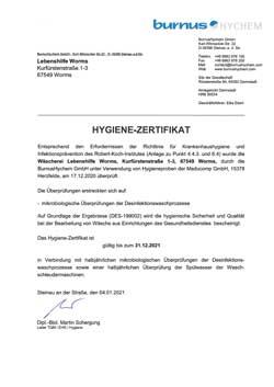 Hygiene-Zertifikat 2020