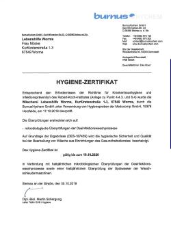 Hygiene Zertifikat 2019